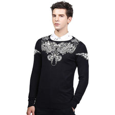 2017 Autumn Winter Pullover Sweater For Men Brand Clothing Jumpers Jacquard Christmas Slim Fit Mens Sweaters SW0021