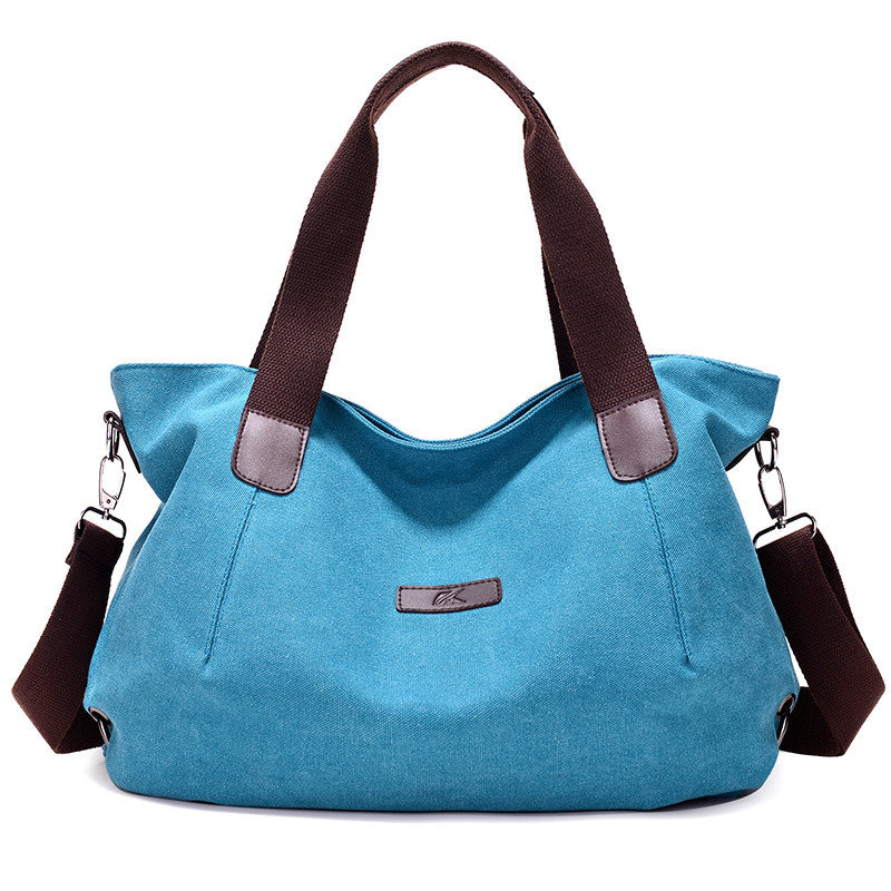 Costbuys  New Lady Canvas Shoulder bag Women's Handbag Cute girl Tote Bag Female Large Capacity leisure bag sac a main - Blue /