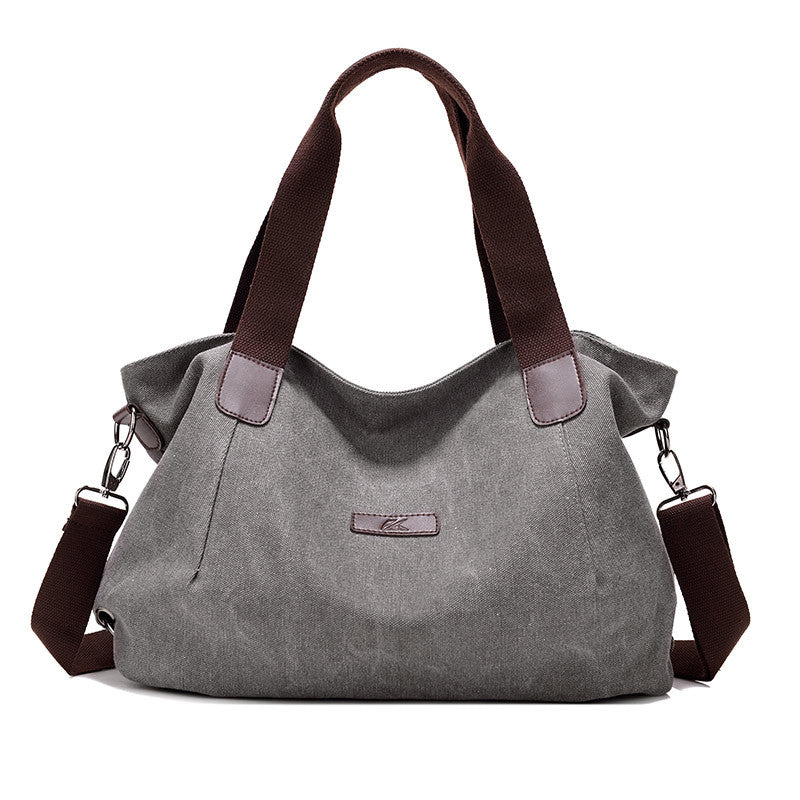 Costbuys  New Lady Canvas Shoulder bag Women's Handbag Cute girl Tote Bag Female Large Capacity leisure bag sac a main - Gray /
