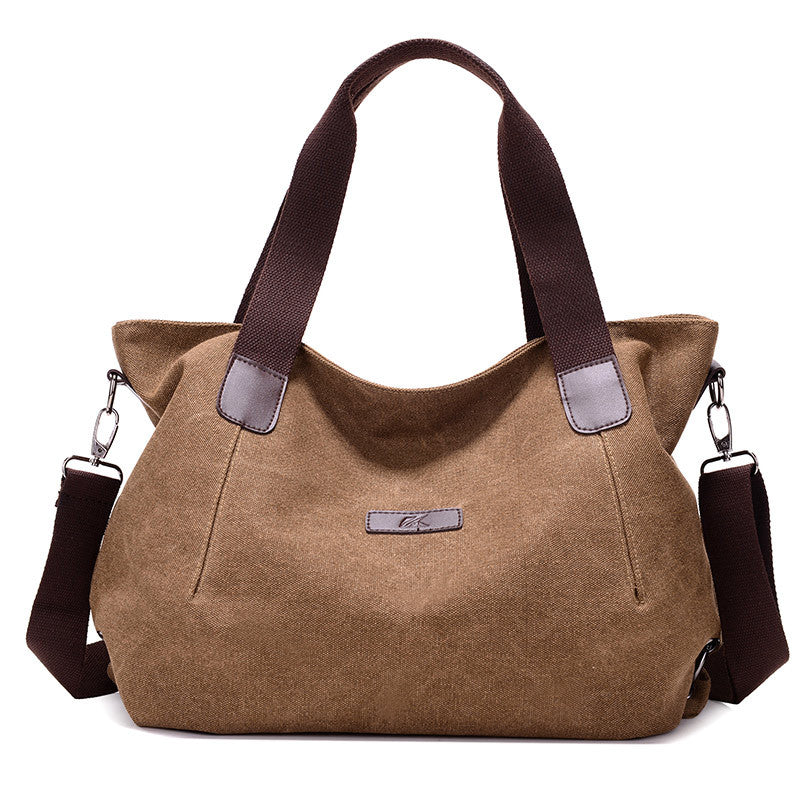 Costbuys  New Lady Canvas Shoulder bag Women's Handbag Cute girl Tote Bag Female Large Capacity leisure bag sac a main - Brown /