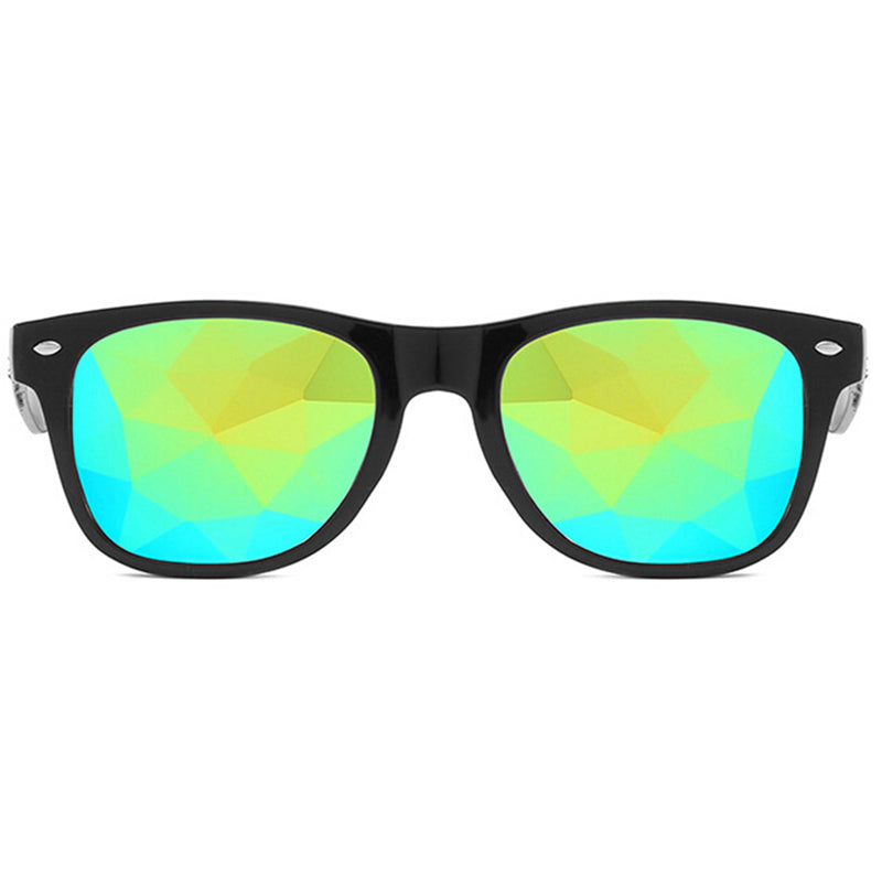 Costbuys  Kaleidoscope Glasses Mosaic Sunglasses Nightclub Animation Electronic Music Festival Retro Sunglasses oval - Red