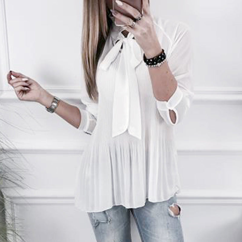 Costbuys  Bow Knot Chiffon Blouse Shirts Women Summer Loose Top Solid Pleated Blouse Plus Size Casual Shirt - White / S