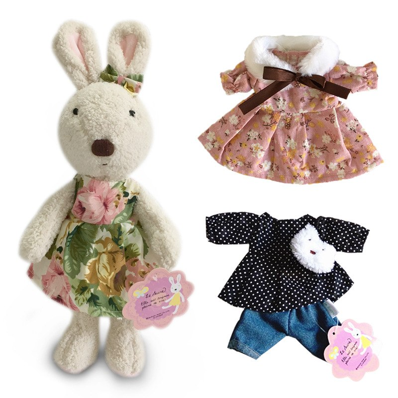 Costbuys  Kawaii Bunny Rabbit Plush Dolls with Change Clothes Stuffed Animal Soft Toys for Children Girls Kids Toys Gifts for th