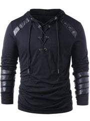 Lace Up Faux Leather Hoodies Solid Long Sleeves Casual Sweatshirts Gothic Autumn Male Pullovers Tops