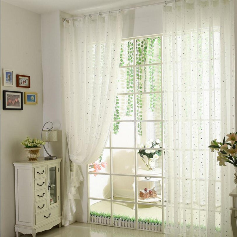 Kids Bedroom White Printed Stars Window Drapes Tulle Pink Curtain Decoration Blue Curtains Wp234 30