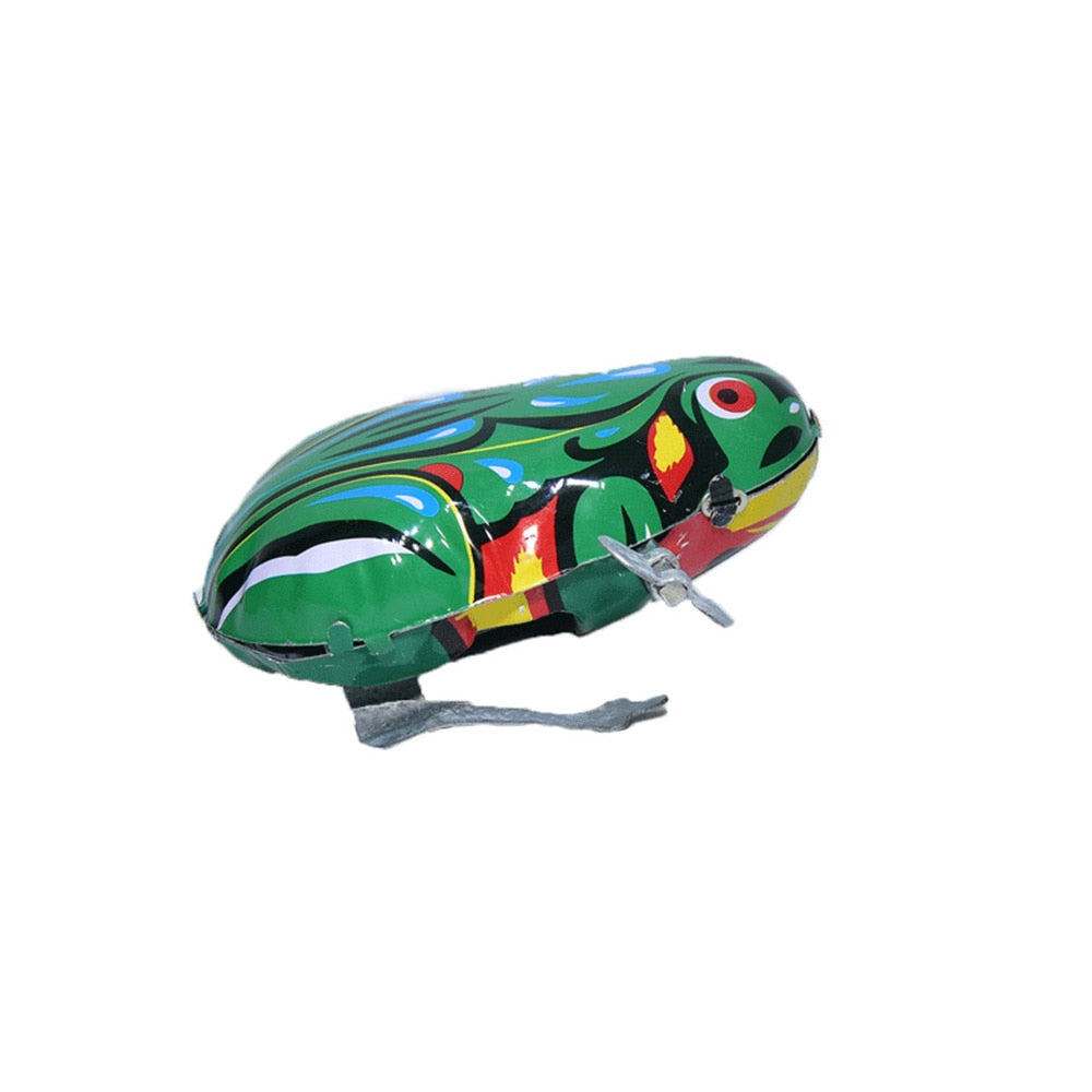 Costbuys  Kids Wind Up Frog Clockwork Toy Mini Pull Back Jumping Frog Vintage Toy for Children Boys Educational Classic Tin Wind