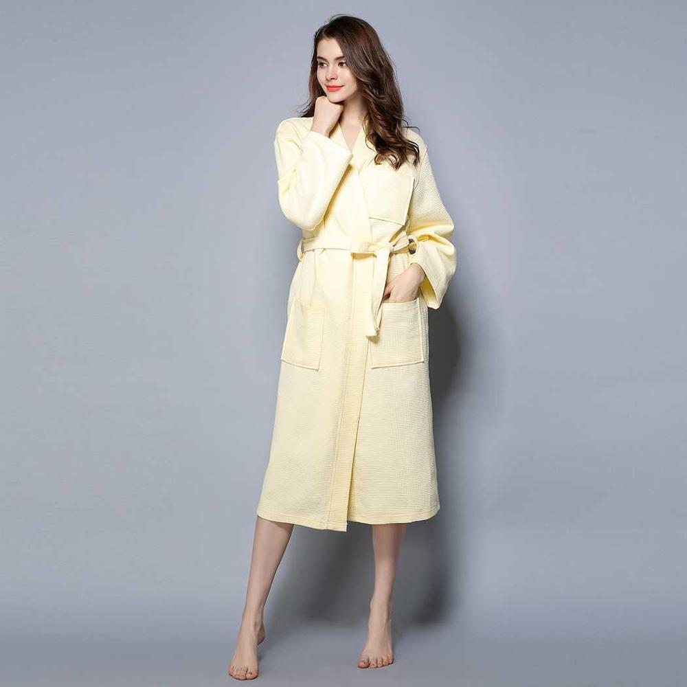 Costbuys  Kimono Cotton Robe Sexy Bridesmaid Waffle Long Bathrobe Women Solid Belted Dressing Gown Bathroom Spa Hotel Large Slee