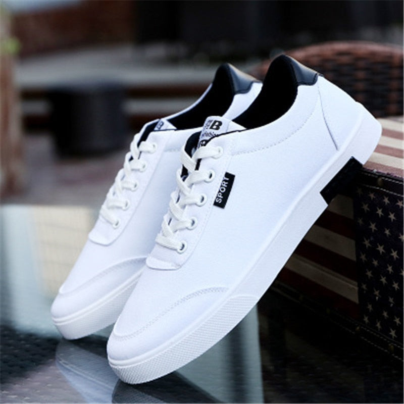Costbuys  Spring and autumn breathable non-slip sneakers men's fashion low shoes men's casual sports flat shoes - white / 10