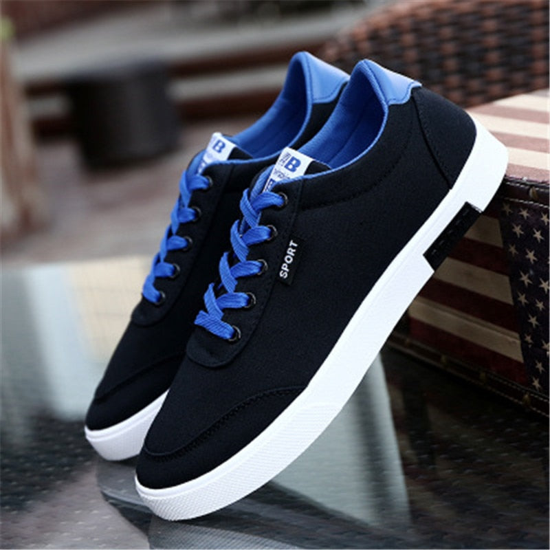 Costbuys  Spring and autumn breathable non-slip sneakers men's fashion low shoes men's casual sports flat shoes - Black / 10