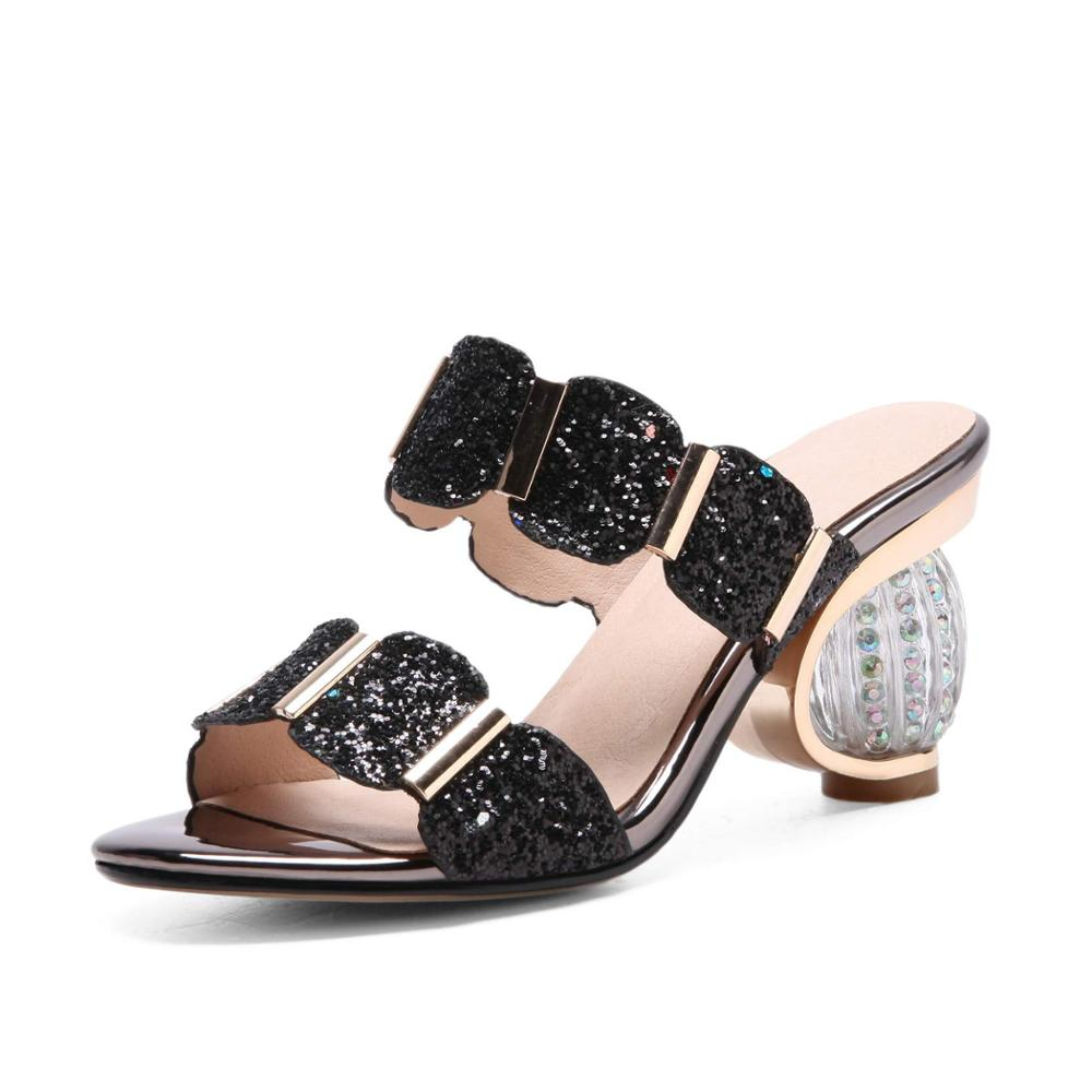 Shoes Round Crystal High Heels Women Sandals Shallow Bling
