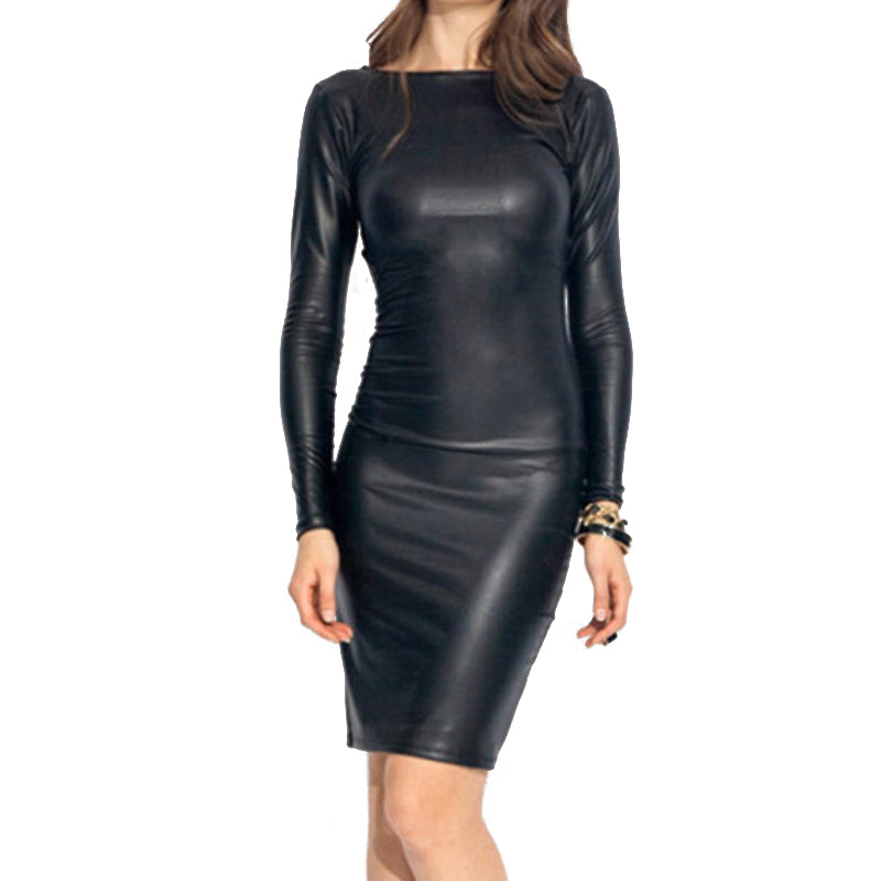 Costbuys  Faux Leather Sexy Bodycon Pencil Dresses Women Fashion Long Sleeve Sheath Party Dress Autumn Club Bar Slim - Black / S
