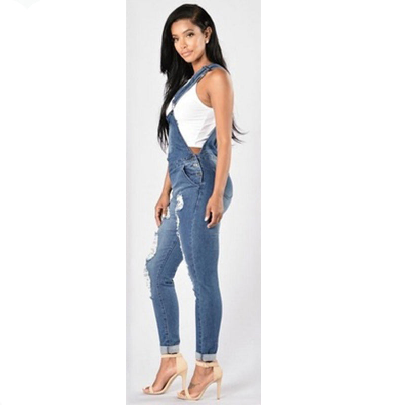 4d0b81682e Women Jean Jumpsuits Denim Casual Washed Hollow Out Rompers Ripped Hole  Long Overalls Jeans Jumpsuits