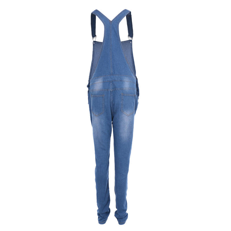 4b5dd6fe875 Women Jean Jumpsuits Denim Casual Washed Hollow Out Rompers Ripped Hole  Long Overalls Jeans Jumpsuits