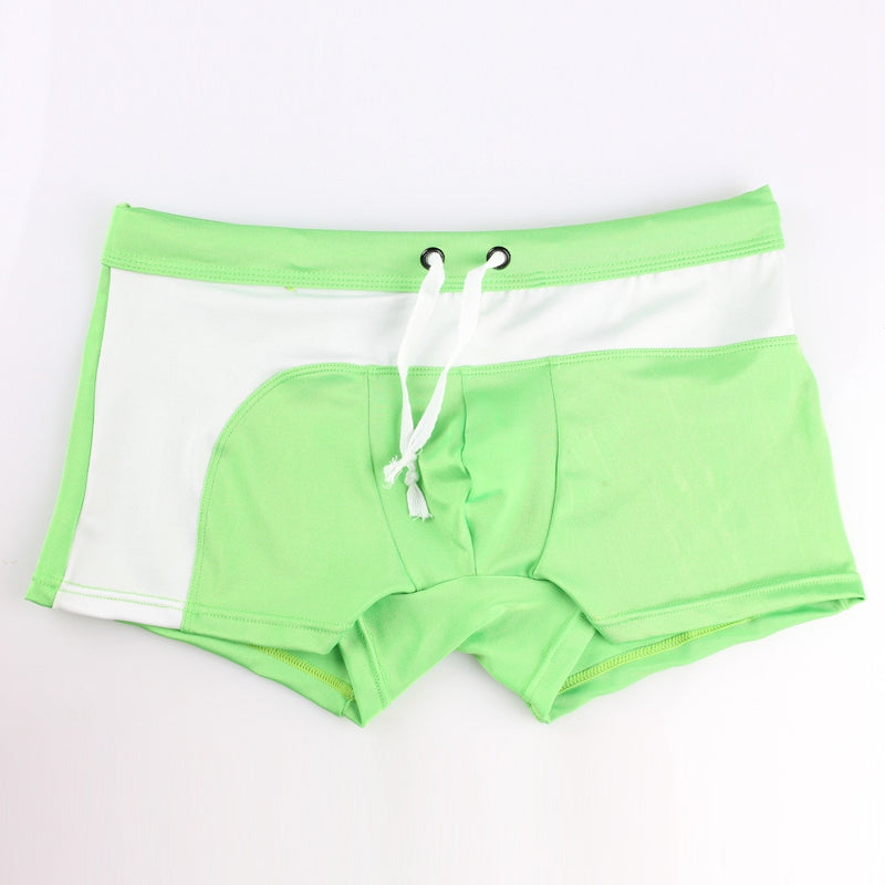 Costbuys  Swimsuit Men Swimming Trunk Boxer Briefs Swim Shorts Trunks Elastic Men Swimwear Pant Sale Sexy Beach Shorts - Green /