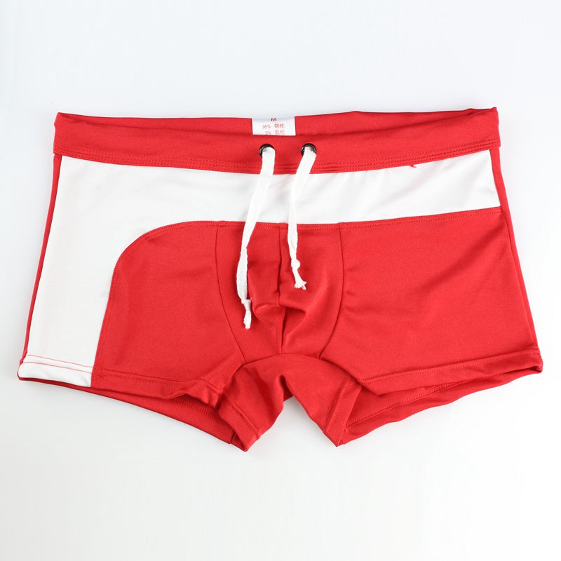 Costbuys  Swimsuit Men Swimming Trunk Boxer Briefs Swim Shorts Trunks Elastic Men Swimwear Pant Sale Sexy Beach Shorts - Red / S