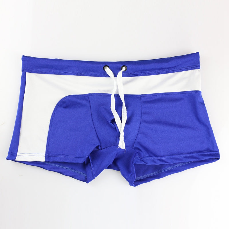 Costbuys  Swimsuit Men Swimming Trunk Boxer Briefs Swim Shorts Trunks Elastic Men Swimwear Pant Sale Sexy Beach Shorts - Blue /