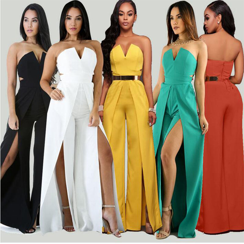 Off the Shoulder Elegant Jumpsuits Without Belt Women Plus Size Rompers Women Jumpsuits Short Sleeve Female Overalls