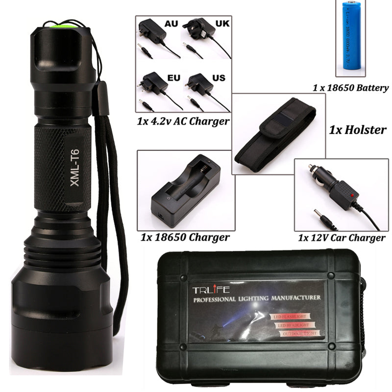 Costbuys  LED CREE XML L2/T6 Flashlight 8000 lumens Torch high power Tactical Flashlight Lamp Light +Charger+1*18650 Battery+Hol