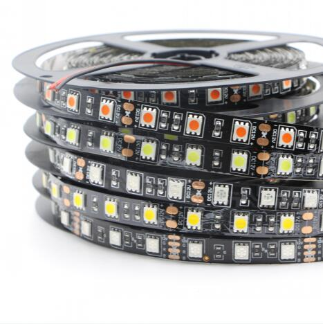 Costbuys  LED strip 5050 RGB black pcb waterproof 60led 1m Flexible LED Light DC12V white warm white red 5M 3M decoration led st