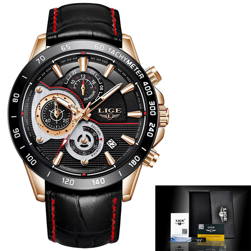 Mens Watches Luxury Waterproof Chronograph Military Sport Watch For Men Leather Date Analog Casual Male Wrist Watches Mens/Womens Quartz Watches