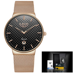 New Men Watches Top Luxury All Steel Slim Quartz Black Watch Men Casual Fashion Waterproof Clock Relogio masculino