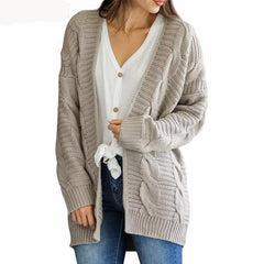 Long Cardigan Women Autumn Winter Knitted Sweater Casual Womens Sweaters Coat