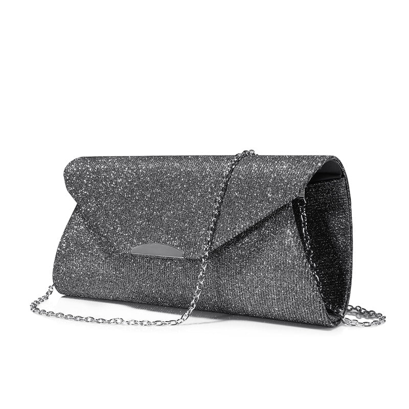 Costbuys  fashion women evening clutches bag female crossbody bags ladies envelope purse  for party with chains - Gray / China /