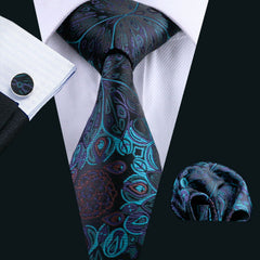 Men`s Tie 100% Silk Blue Floral Classic Jacquard Woven Tie+Hanky+Cufflinks Set For Formal Wedding Business Party