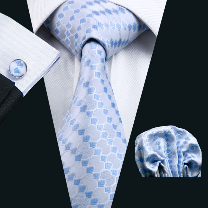 Fashion Men Tie Blue Novelty 100% Silk Jacquard Woven NeckTie Handkerchief Cufflink Set For Men Formal Wedding Party