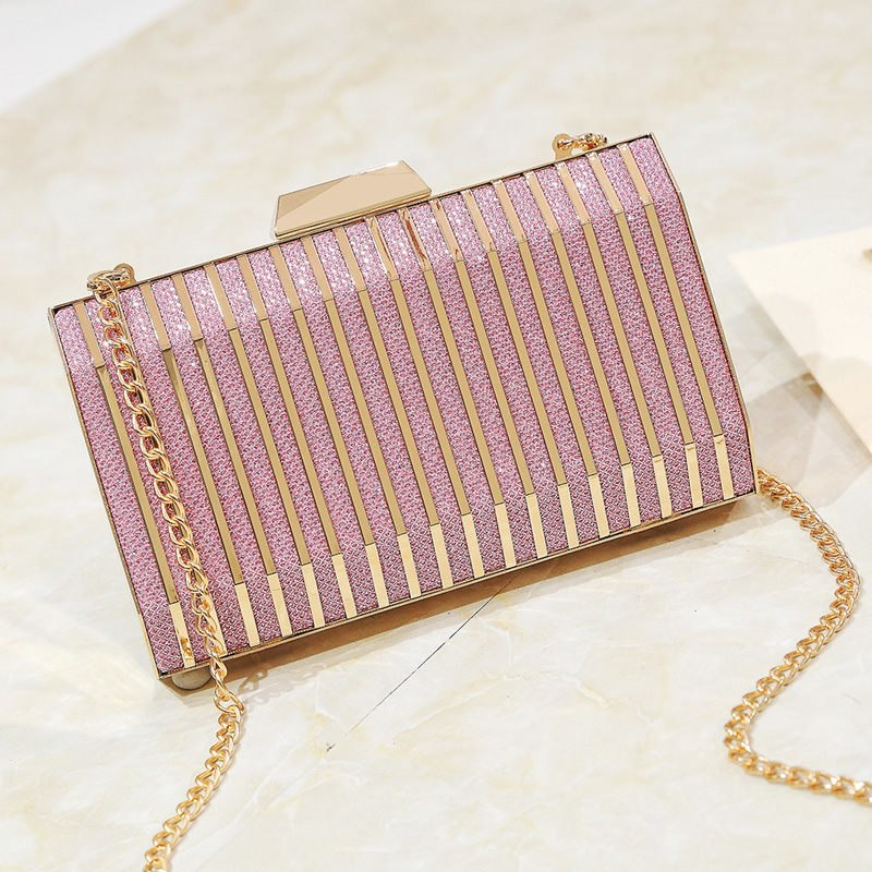 Metallic Party Evening Bag Small Clutch Purse Women Bag Gold Day Clutches Ladies Purses Chain Wedding Hand Bag 4 Colors