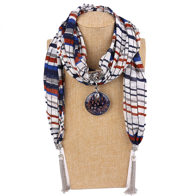 Costbuys  Women Pendants Necklaces Scarf Chiffon Scarf Alloy Beads Jewellery Circular Female Scarf Decorative Neckerchief - 11 /