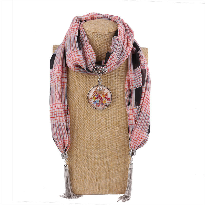Costbuys  Women Pendants Necklaces Scarf Chiffon Scarf Alloy Beads Jewellery Circular Female Scarf Decorative Neckerchief - 15 /