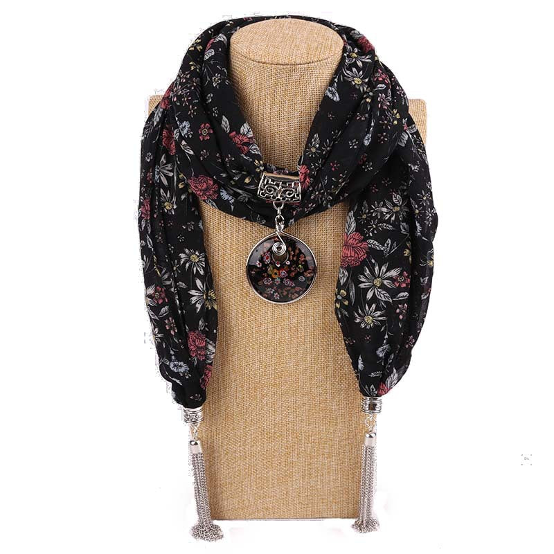 Costbuys  Women Pendants Necklaces Scarf Chiffon Scarf Alloy Beads Jewellery Circular Female Scarf Decorative Neckerchief - 3 /