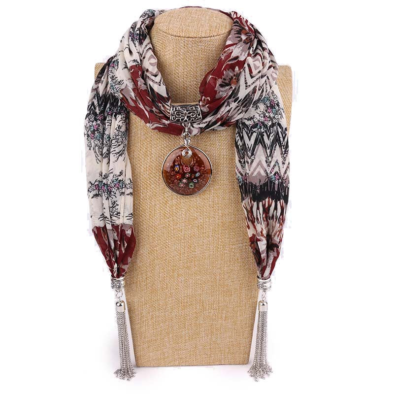 Costbuys  Women Pendants Necklaces Scarf Chiffon Scarf Alloy Beads Jewellery Circular Female Scarf Decorative Neckerchief - 29 /