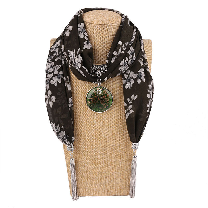 Costbuys  Women Pendants Necklaces Scarf Chiffon Scarf Alloy Beads Jewellery Circular Female Scarf Decorative Neckerchief - 5 /