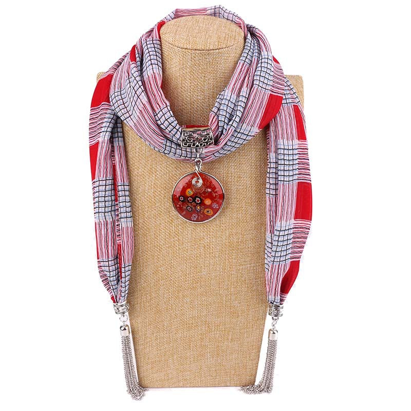 Costbuys  Women Pendants Necklaces Scarf Chiffon Scarf Alloy Beads Jewellery Circular Female Scarf Decorative Neckerchief - 1 /