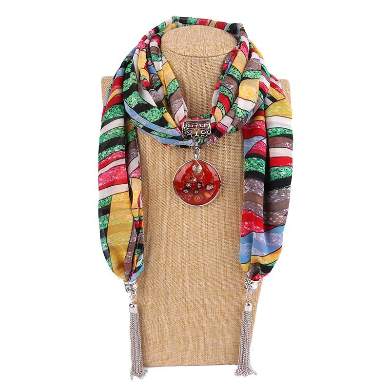 Costbuys  Women Pendants Necklaces Scarf Chiffon Scarf Alloy Beads Jewellery Circular Female Scarf Decorative Neckerchief - 13 /