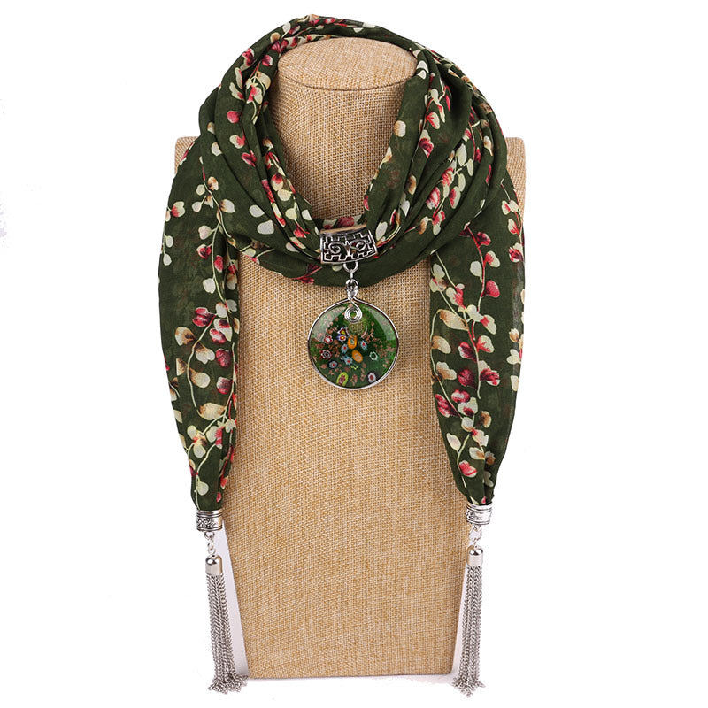 Costbuys  Women Pendants Necklaces Scarf Chiffon Scarf Alloy Beads Jewellery Circular Female Scarf Decorative Neckerchief - 26 /