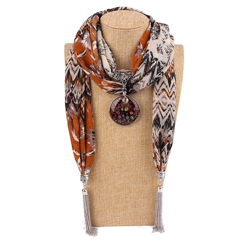 Costbuys  Women Pendants Necklaces Scarf Chiffon Scarf Alloy Beads Jewellery Circular Female Scarf Decorative Neckerchief - 20 /