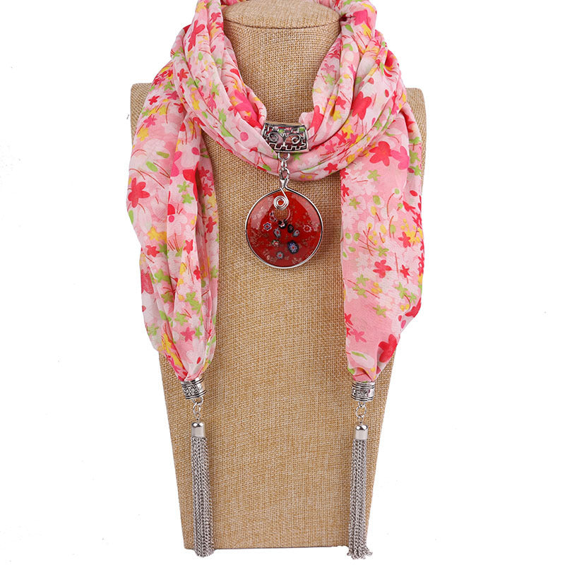 Costbuys  Women Pendants Necklaces Scarf Chiffon Scarf Alloy Beads Jewellery Circular Female Scarf Decorative Neckerchief - 8 /
