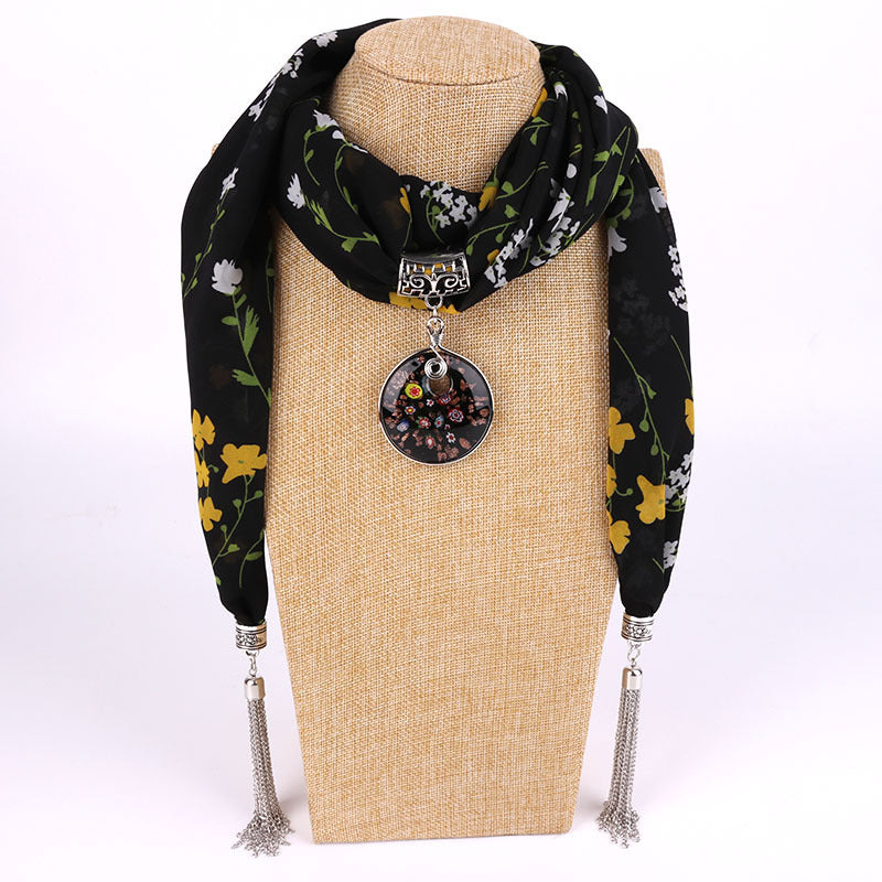 Costbuys  Women Pendants Necklaces Scarf Chiffon Scarf Alloy Beads Jewellery Circular Female Scarf Decorative Neckerchief - 4 /