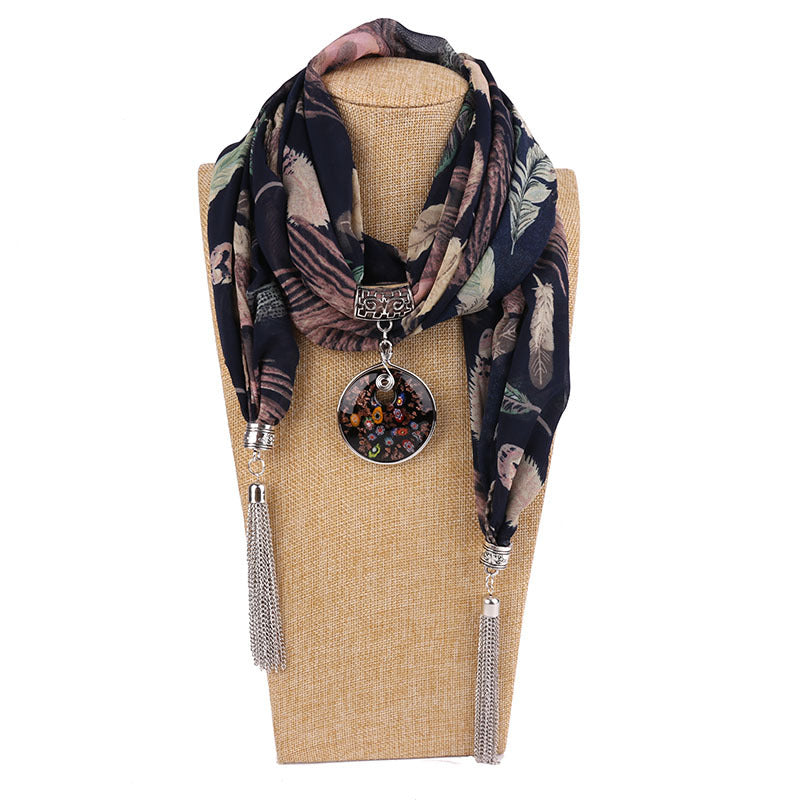 Costbuys  Women Pendants Necklaces Scarf Chiffon Scarf Alloy Beads Jewellery Circular Female Scarf Decorative Neckerchief - 14 /