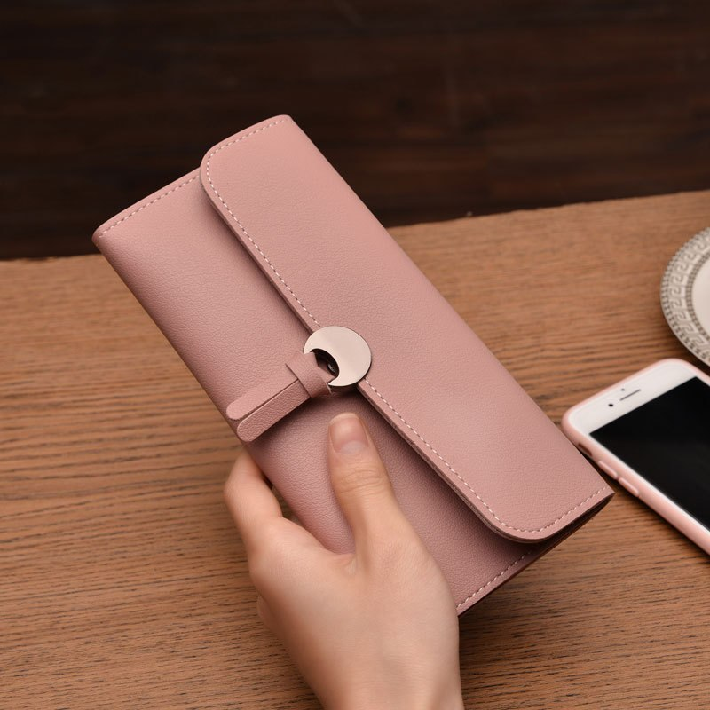 Costbuys  New Credit Card Wallet for Women Fashion Wallets PU Leather Clutch Money Clips Long Lady Purse for Coins - pink