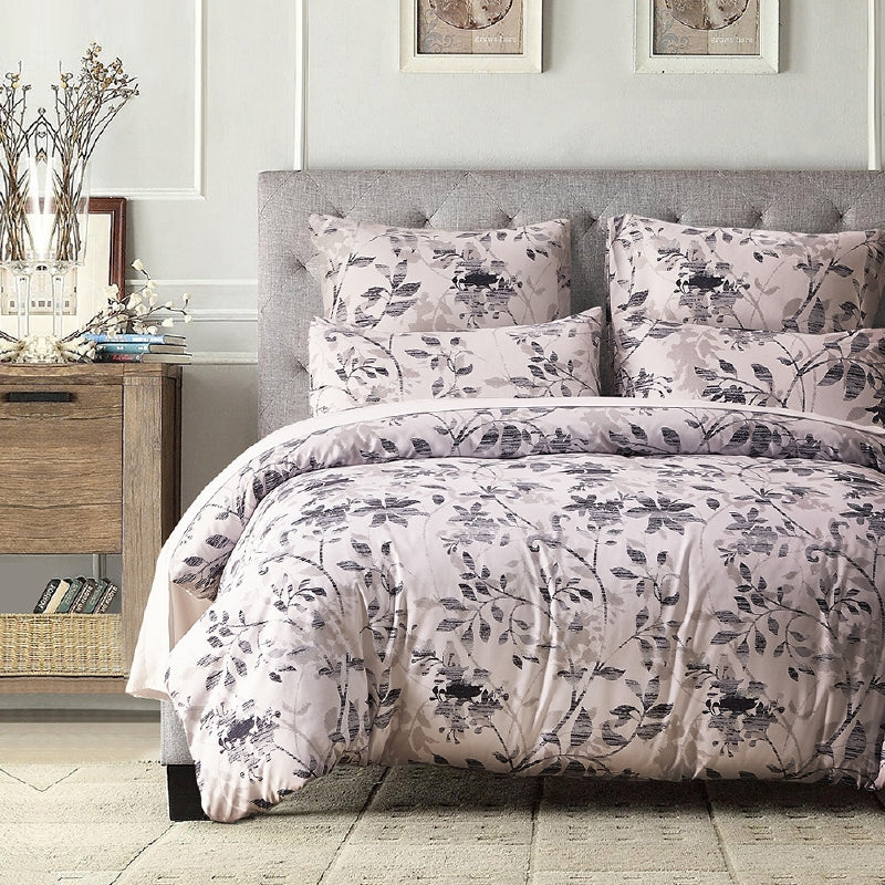 Costbuys  Hot Sale Twin Queen King  Size Bedding Sets Pastoral Printed Floral  Duvet Cover Set Pillowcases RU/US/UK Size Beige -