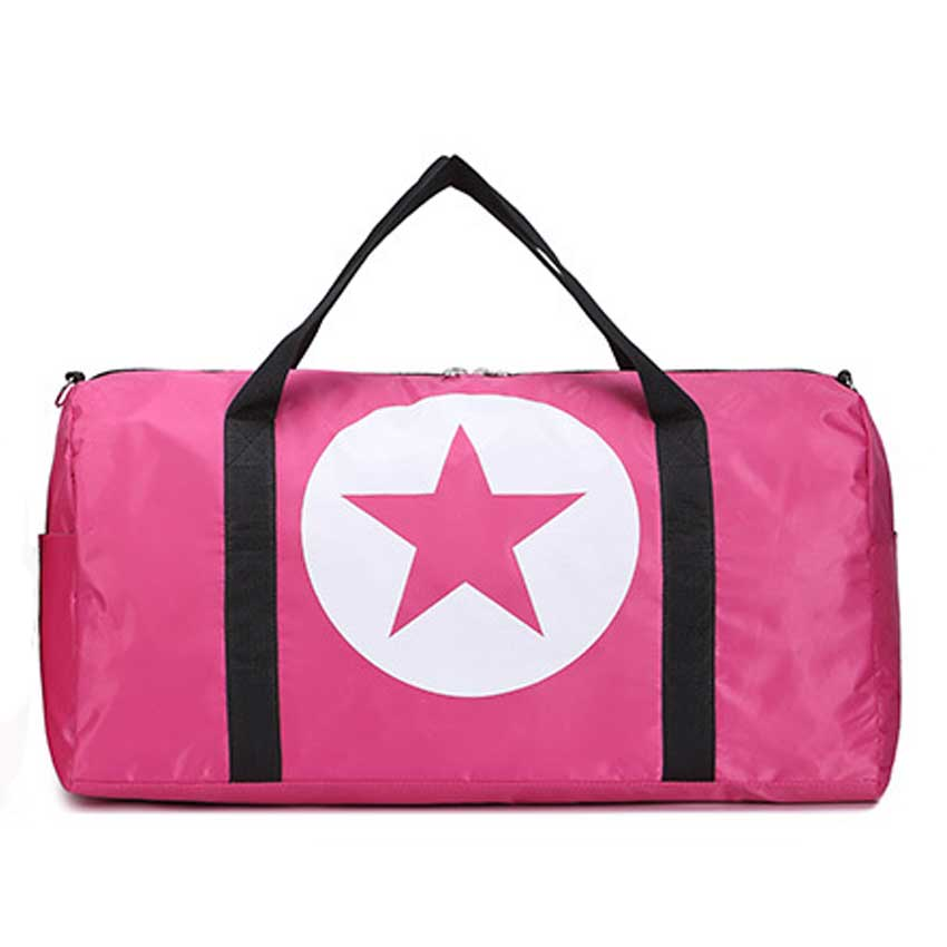 Costbuys  Large Capacity Five-Pointed Star Women Men Duffel Bag Multifunction Portable Sports Travel Gym Fitness Bag - pink smal