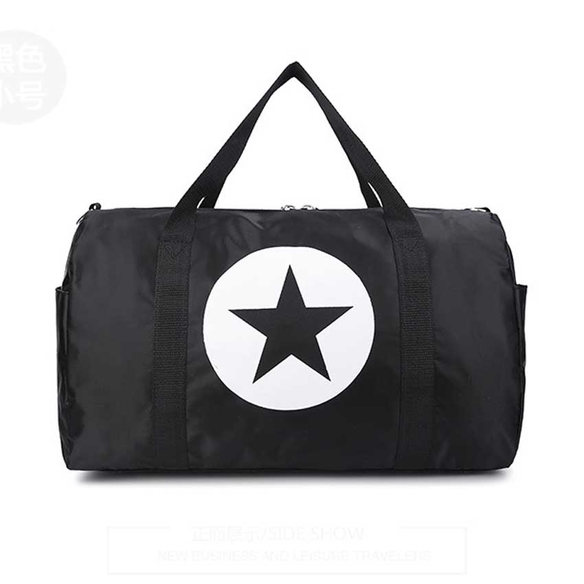 Costbuys  Large Capacity Five-Pointed Star Women Men Duffel Bag Multifunction Portable Sports Travel Gym Fitness Bag - black lar