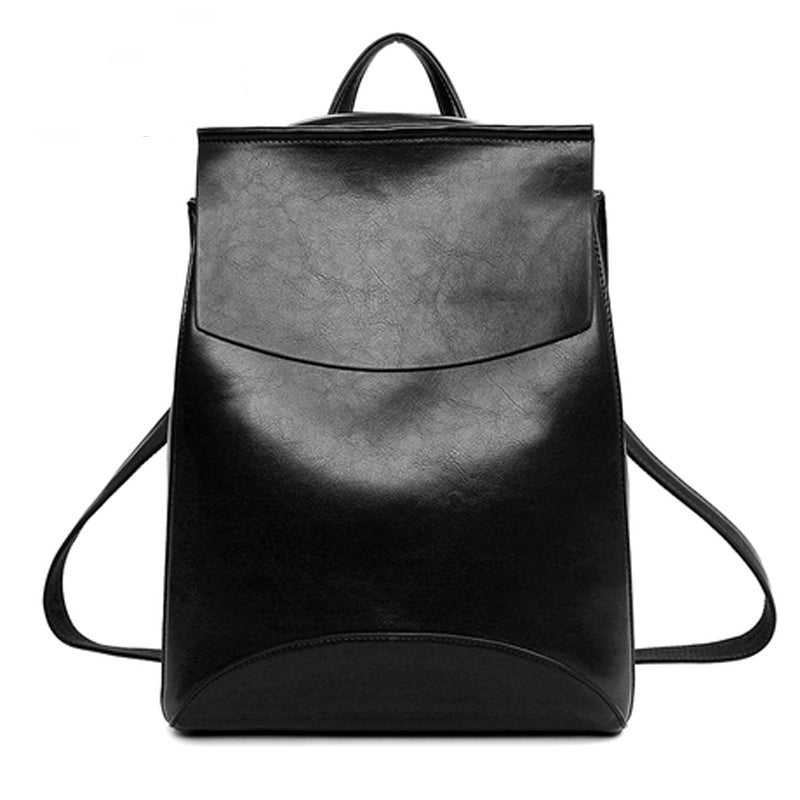 Costbuys  Leather Backpack Women Backpacks For Teenage Girls School Bags Black Summer Vintage Backpack - Black