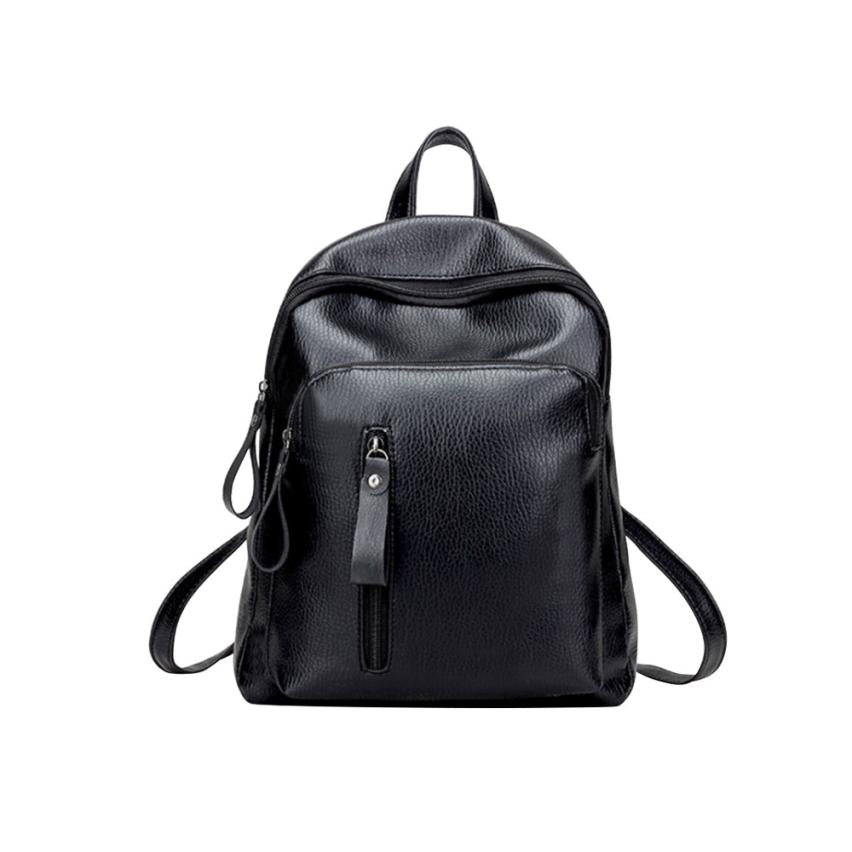 Costbuys  Leather Backpack Women Black Small Zipper Backpack Student Backpacks School Bags Backpacks Mochilas Mujer - Black / Ch