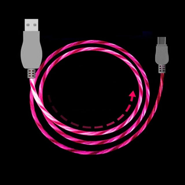 Costbuys  Led USB Cable Flash Light Lamp Up Data Line Mobile phone Charger For iPhone Samsung Xiaomi Huawei Android Type-C 1M Ca