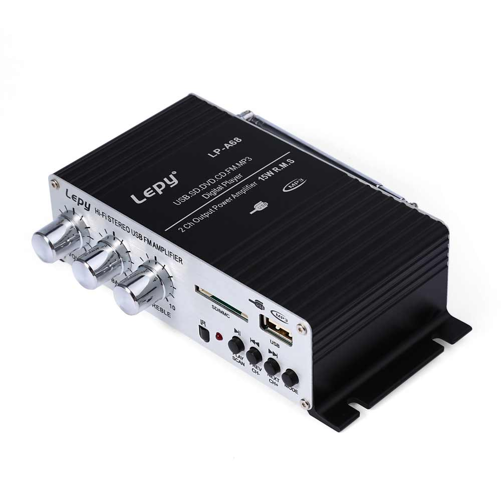 Costbuys  LP-A68 Audio Amplifier Mini USB HiFi Radio Stereo Player SD FM Home Auto Motocycle Bass Speaker 12V Car MP3 SD MMC MP3